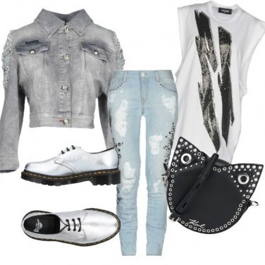 Outfit Argento rock