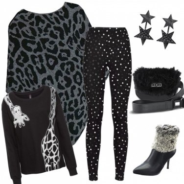 Outfit Trendy black and white