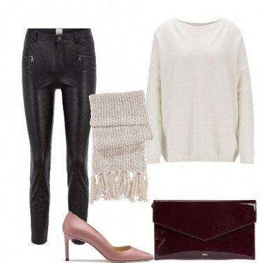 Outfit Maxi sciarpa e pantaloni di pelle