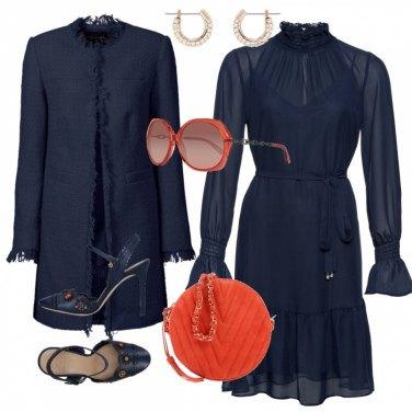 Outfit Cerimonia in blu & arancio