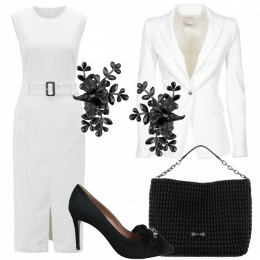 Outfit Cerimonia in black and white