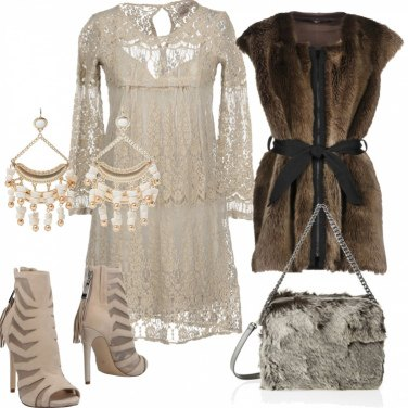Outfit Pizzo ed ecofur