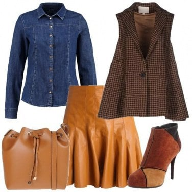 Outfit Pelle jeans e tweed