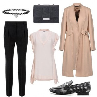 Outfit Chic in rosa e nero