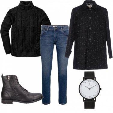 Outfit Cappotto in fantasia bicolore