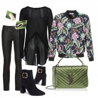 Outfit Bomber floreale