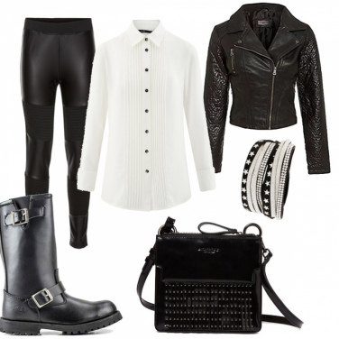 Outfit Camicia bianca low cost 4: rock
