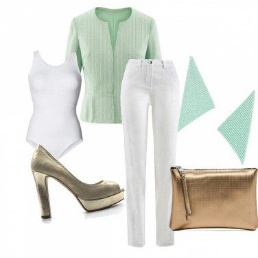 Outfit Cerimonia bianco verde e oro