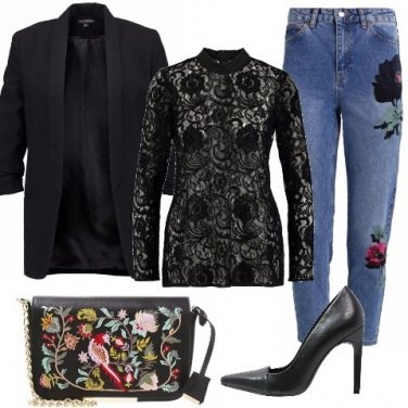 Outfit Denim e pizzo