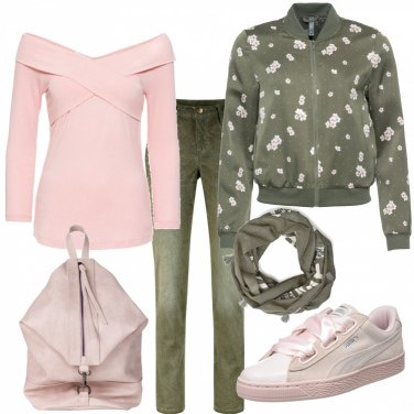 Outfit Basic in rosa e verde militare