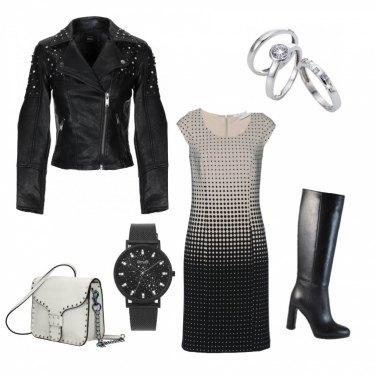 Outfit Vestito a pois bianco e nero
