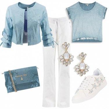 Outfit Bianco e azzurro primaverile