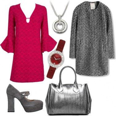 Outfit Grigio e ciliegio