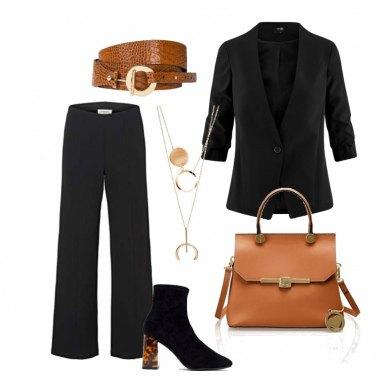 Outfit Nero e cuoio