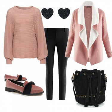 Outfit Rosa e nero - low cost