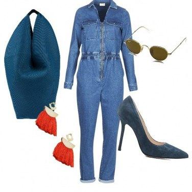 Outfit Maxi bag e tuta jeans