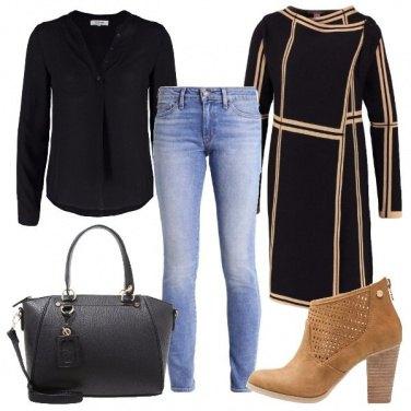 Outfit Nero e camel