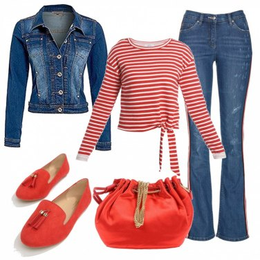 Outfit Il rosso con i jeans