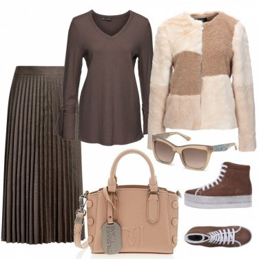 Outfit Patchwork e plissé