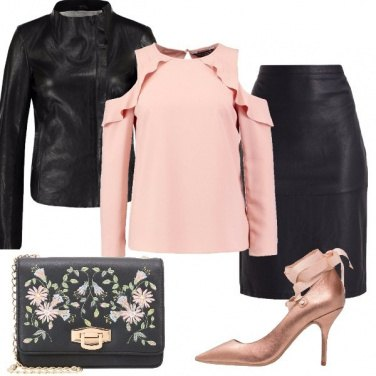 Outfit In rosa e pelle