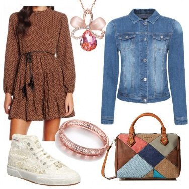 Outfit Sneaker effetto pizzo