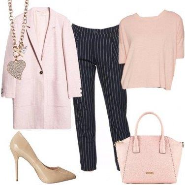 Outfit Rigato e rosa