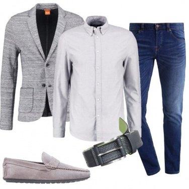 Outfit Jeans e giacca grigia
