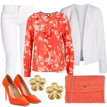 Outfit Primavera colorata di arancio