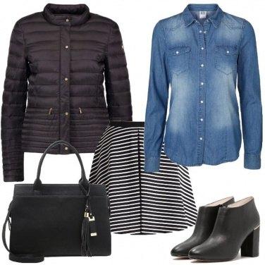 Outfit La mini a righe e la camicia di jeans