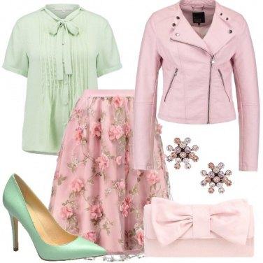 Outfit Verde e rosa