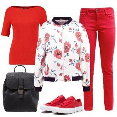 Outfit Il mio bomber a fiori