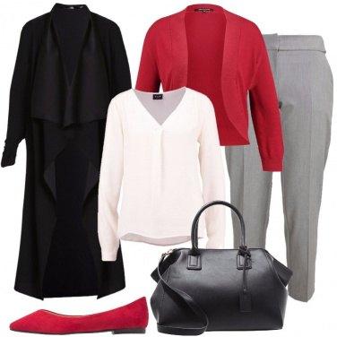 Outfit Un pizzico di rosso in ufficio