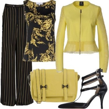 Outfit Chic vibrante in mix e match