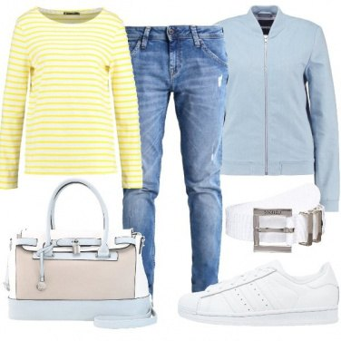 Outfit Giallo e azzurro
