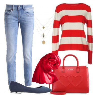 Outfit Rosso e righe