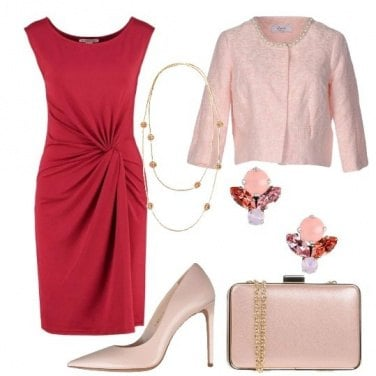 Outfit Chic in rosso e rosa