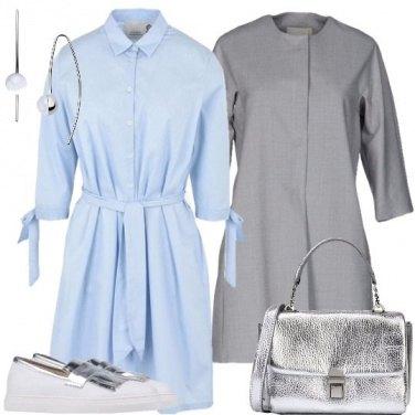 Outfit Abito chemisier e accessori argento