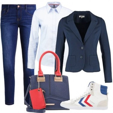 Outfit Blu con rosso