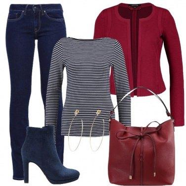Outfit Rosso scuro e blu