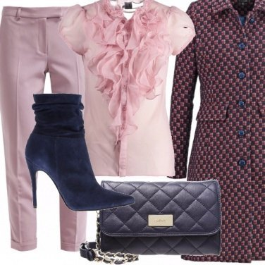 Outfit Occasione in pink and blue