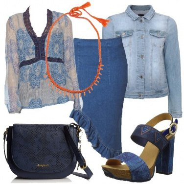 Outfit Gonna asimmetrica in jeans