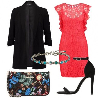 Outfit Rosso e pizzo