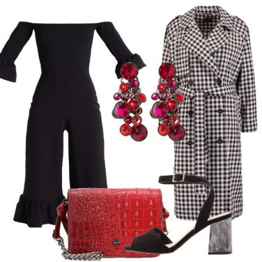 Outfit Vichy e rosso