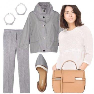 Outfit Chic in bianco e grigio