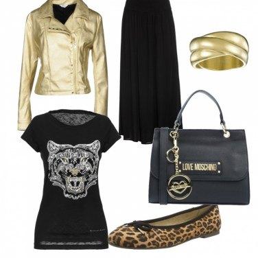 separation shoes 4398f b0b8e Biker oro e ballerine animalier: outfit donna Trendy per ...