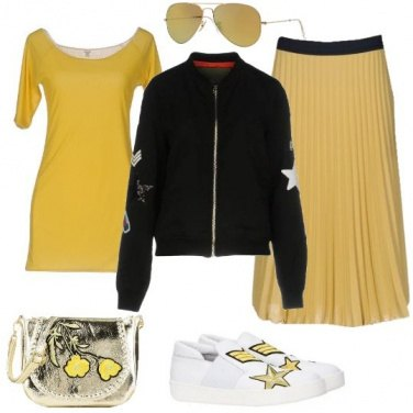 Outfit Giallo preppy