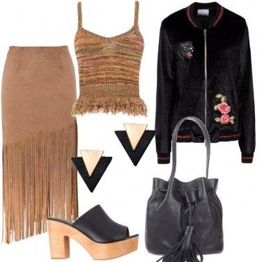Outfit Bomber e frange