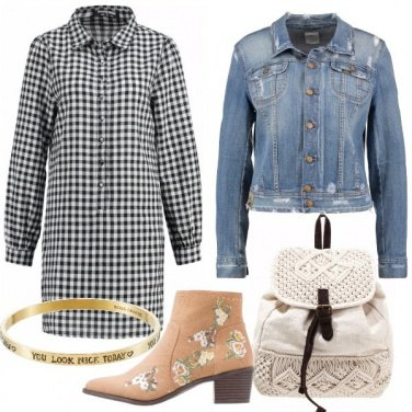 Outfit Quadretti e denim