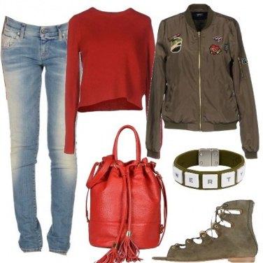 Outfit Bomber e sandali flat