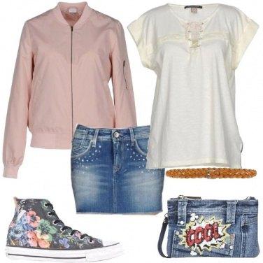 Outfit Con il bomber rosa